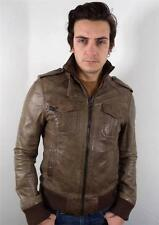 VINTAGE STYLE MENS CLASSIC BROWN FITTED LEATHER JACKET S 38