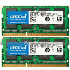 Crucial 8GB 2x4GB 2Rx8 PC3-8500 DDR3-1066MHz 204pin Laptop SODIMM Memory RAM CL7
