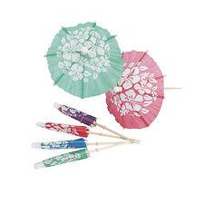 144 Luau Umbrella Parasol Tropical Beach Drink Hibiscus Food Picks Beach Party