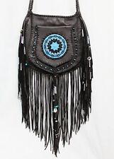 BOHO HIPPIE Brown LEATHER Buffalo Nickel Fringe Beaded Native Amer Crossbody