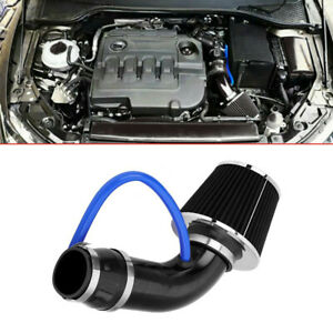 """3"""" 76mm Black Car Cold Air Intake Filter Induction Pipe Power Flow Hose System"""