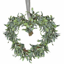 43cm Mistletoe Heart Shaped Christmas Wreath