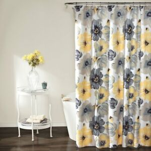 Leah Floral Shower Curtain Yellow/Gray Poppies & flowers by Lush Decor