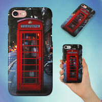 RED TELEPHONE BOOTH ON GRAY BRICK ROAD HARD BACK CASE FOR APPLE IPHONE PHONE