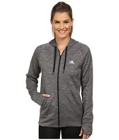 NWT Women's Adidas Team Issue All Time Full Zip Bold Workout Hoodie Dark Gray