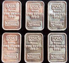 RARE Vintage D'ORO 5 gram .999 fine silver bar ~ DCM Essayeur Fondeur