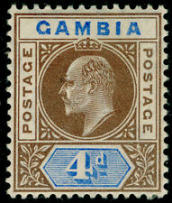 More details for gambia sg62, 4d brown & ultramarine, lh mint. cat £24.