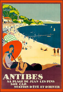Travel  Antibes Deco Holiday Art Ad  Poster Print