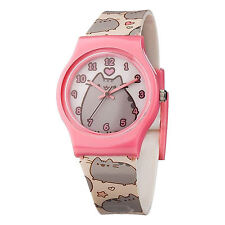 PUSHEEN ANALOGUE WRIST WATCH CAT KITTEN CARTOON APP KIDS PINK BEZEL HEARTS STRAP