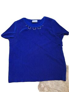 Alfred Dunner Royal Blue Top: Size Petite Medium: Ruffles And Glitter
