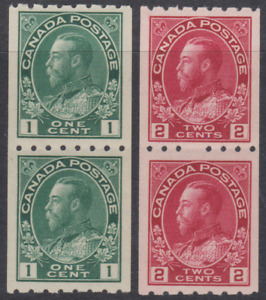 Canada 1913 Coils MNH/Mint Mounted 1c  & 2c  8 x Imp SG224A & B Cat £260 PAIRS