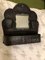 Vintage Antique Stamped Tin Wall Comb and Brush Holder with Mirror
