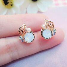 Cute Beauty Women Small Lovely Crystal Rhinestone Leaves Stud Earrings Jewelry