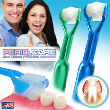 2PK | DenTrust Periocare 3-Sided Toothbrush | Clinically Proven + Tongue Scraper