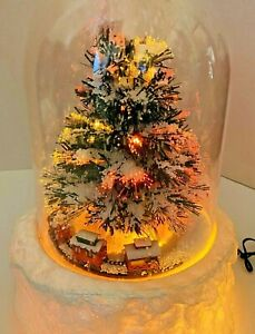"""Musical Holiday Moving Train Fiber Optic Tree Snow Dome Carlton Cards 14.5"""" Tall"""