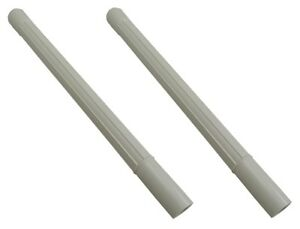 Vacuum Attachment White Plastic Wand Pipe Hose Tool Extension 1.25 ID - 2 Pack