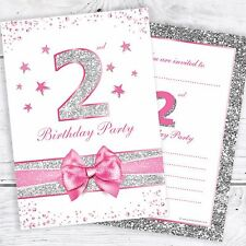 2nd Birthday Invites - Pink Sparkly Design with Photo Silver Glitter Effect Pk10