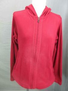COLUMBIA SIZE L WOMENS RED ATHLETIC FULL ZIP OUTDOOR FLEECE HOODED JACKET T946