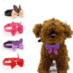 Dog Puppy Cat Collars Necklace Belt Adjustable Knit Bowknot PU Leather Decor RF