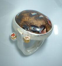 Ring, Feinsilber , Boulderopal, Saphire, Gr 58, Flamere Design by Dieter Fischer