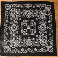 100% Cotton Black Bandana Scarf Extra Large White Texas Paisley Headscarf 27 INc