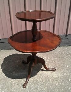 Antique Mersman Mahogany Table w/ 2 Round Tiers and Claw Feet