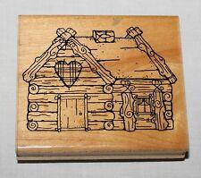 Big Bear Cabin Rubber Stamp D.O.T.S. JRL Design Q201 Log House Heart