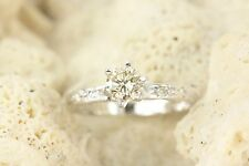 0.54 Cts Solitaire with Accents Engagement Diamond Ring 14k White Gold