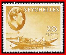 SEYCHELLES 1938 KGVI FISHING BOAT chalk paper SC#136 SG#140a MLH £11.00 (E-B5)