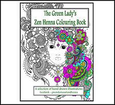 Zen Henna Adult colouringbook anti stress Green Lady garden calm art therapy
