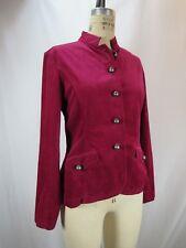 Coldwater Creek Red Burgundy Corduroy Blazer Jacket Military Mandarin Womens 6 M