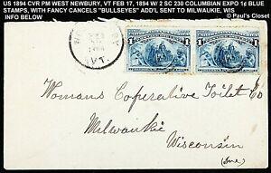 1894 CVR W/PAIR OF SC 230 PM VT, TO WOMANS COPERATIVE TOILET CO, MILWAUKEE WIS V