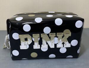 NWT Victorias Secret PINK Cosmetic Travel Bag Zip Closure Polka Dots