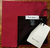 PAUL SMITH 100% SILK REVERSIBLE DEEP RED POCKET SQUARE MADE IN ITALY BNWT