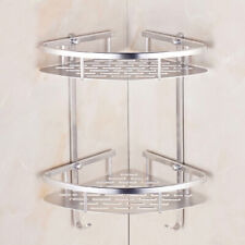 Aluminum 2Tier Bathroom Corner Storage Rack Shower Organizer Shelf Basket Silver