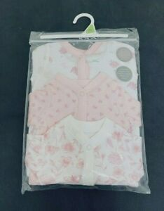 Ex Store Baby Girl 3 Pack Pink Floral Flower Sleepsuits Presentation Pack 0 - 18