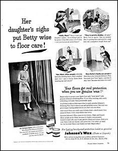 1951 woman waxing floor photo Johnson's wax comic art vintage print ad adL62