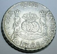 1765 XF Spanish Silver 2 Reales Piece of 8 Real Colonial Era Two Bit Pirate Coin