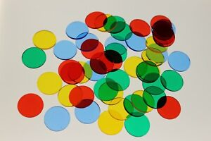 50 x ASSORTED LARGE ROUND TRANSPARENT COLOUR PLASTIC COUNTER CHIPS FREE UK POST