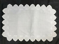 "VINTAGE DOILY 19"" x 13"" White Embroidered Scalloped Border Edges Clean"