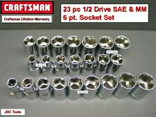 Craftsman Hand Tools 23 pc Lot 1/2 Sae Metric Mm 6 pt ratchet wrench socket set