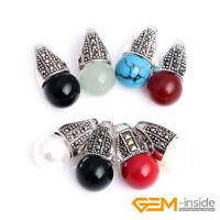 12mm Round Gemstone beads Tibetan Silver Marcasite Jewelry Charm Pendant 12x24mm