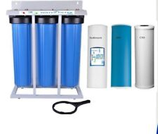 """Whole House Water Filter Big Blue 20""""x4.5"""" Frame Mounted Stand - Filters Include"""