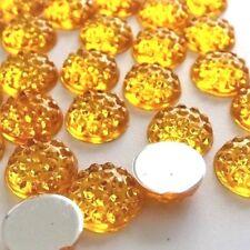 10mm GOLDEN Non-Hotfix Resin Crystal Gems Flatback Rhinestone 100pcs DIY Glue-on