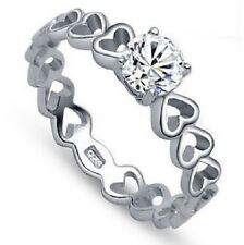 SILVER, PLATINUM CZ CRYSTAL JOINED LOVE HEART ENGAGEMENT RING SIZE: J1/2 L, M