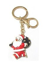 Gold Red Santa Claus Father Keyring Christmas Xmas Crystal KeyChain Charm Gift