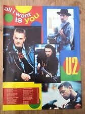 U2 All I Want Is You lyrics magazine PHOTO/Poster/clipping 11x8 inches