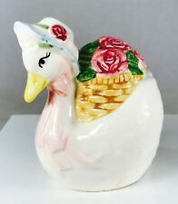 Otagiri Hand Painted China Goose with Basket of Roses Salt or Pepper Shaker 3.5""