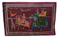 Parete Pittura Mughal Su Seta Arte Elefante India 71x49cm 30