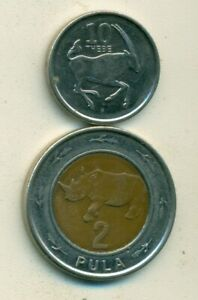 2 COINS from.BOTSWANA - 10 THEBE & BI-METAL 2 PULA w/ RHINO (BOTH DATING 2013)